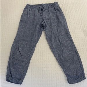 Linen-blend chambray cropped pants, size xs